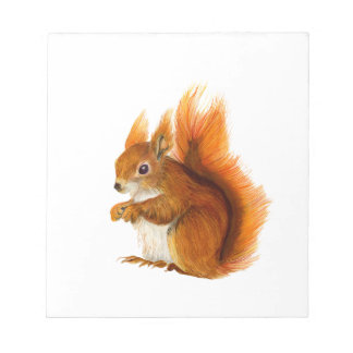 Red Squirrel Painted in Watercolor Wildlife Art Notepad