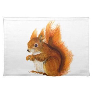 Red Squirrel Painted in Watercolor Wildlife Art Placemat