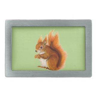Red Squirrel Painted in Watercolor Wildlife Art Rectangular Belt Buckle