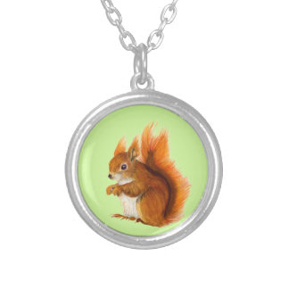 Red Squirrel Painted in Watercolor Wildlife Art Silver Plated Necklace