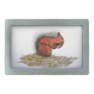 Red Squirrel pine cone Belt Buckle