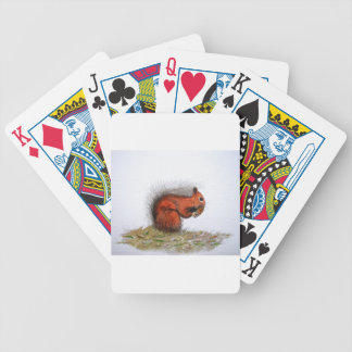 Red Squirrel pine cone Bicycle Playing Cards
