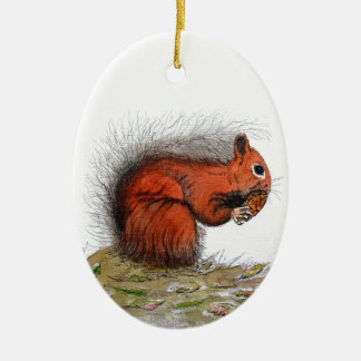 Red Squirrel pine cone Ceramic Oval Decoration