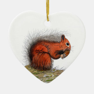 Red Squirrel pine cone Christmas Ornament