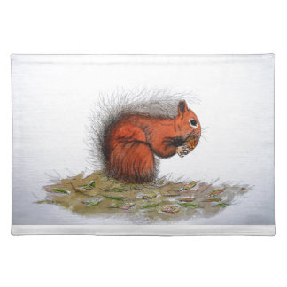Red Squirrel pine cone Placemat
