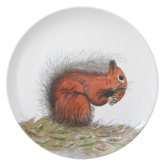 Red Squirrel pine cone Plate