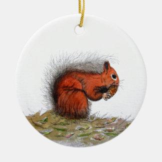 Red Squirrel pine cone Round Ceramic Decoration