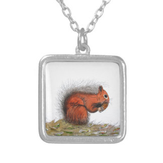 Red Squirrel pine cone Silver Plated Necklace
