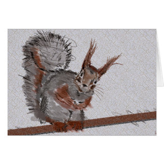 Red Squirrel Says Hello! Card