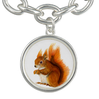 Red squirrel Watercolor Painting Bracelet