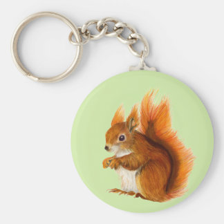 Red Squirrel Watercolor Painting Gifts and Bags Key Ring