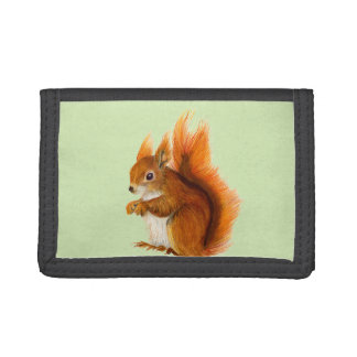 Red Squirrel Watercolor Painting Gifts and Bags Trifold Wallet
