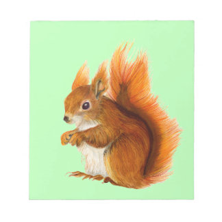 Red Squirrel Watercolor Painting Wildlife Artwork Notepad