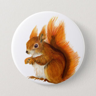 Red Squirrel Watercolour Painting Badge