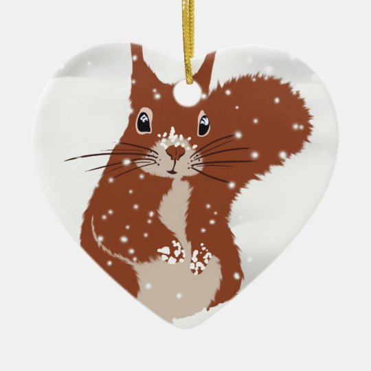 Red Squirrel Winter Snow Snowflakes Cute Animal Christmas