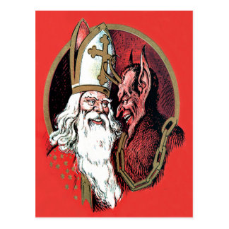Red St Nicholas Krampus Postcard