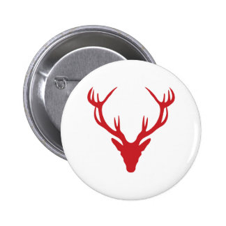 Red Stag Head Christmas or Stag Party 6 Cm Round Badge