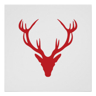 Red Stag Head Christmas or Stag Party Poster