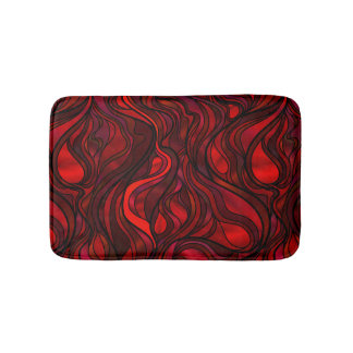 Red Stained Glass Abstract Bath Mats