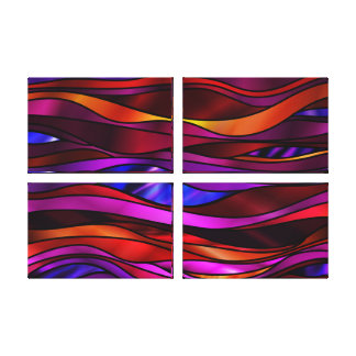 Red Stained Glass Abstract Canvas Print