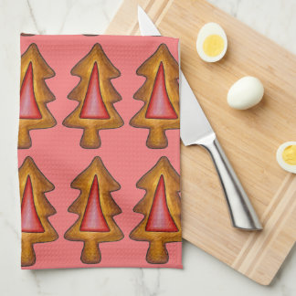 Red Stained Glass Christmas Tree Cookie Xmas Towel