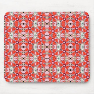 red stained glass flower mouse pad