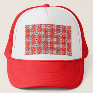 red stained glass flower trucker hat