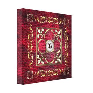 Red Stained Glass Monogram Fleur De Lis Canvas Canvas Print