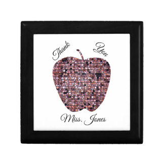Red Stained Glass Mosaic Apple Teacher Thank You Gift Box