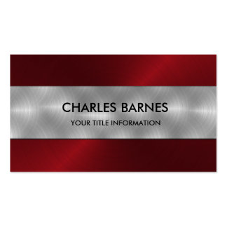 Red Stainless Steel Business Card