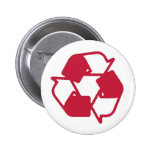 Red Stamped recycle logo Pinback Button