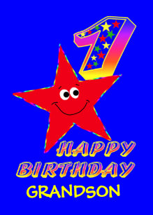 Red Star 1st Birthday Cards For Grandson