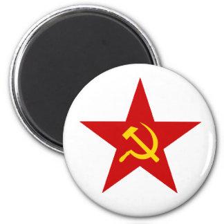 Red Star 6 Cm Round Magnet