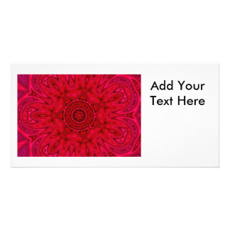 Red Star and Sun Mandala Photo Greeting Card