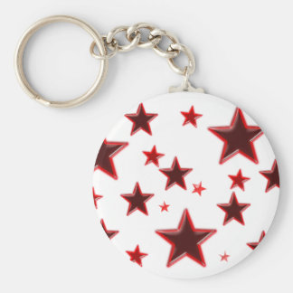 Red Star Basic Round Button Key Ring