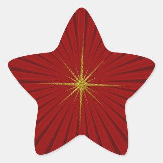Red Star Burst Christmas Sticker