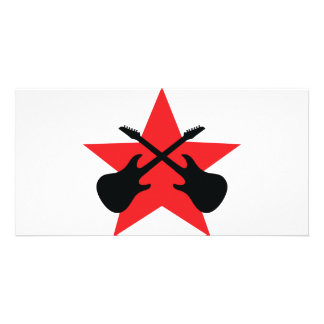 Red Star crossed guitars Photo Cards