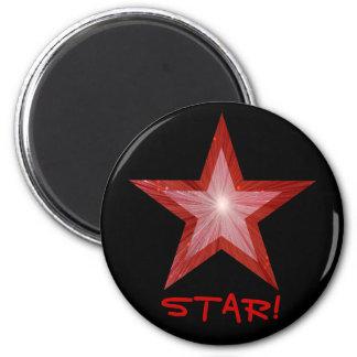 Red Star fridge 'STAR!' magnet round black