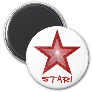 Red Star fridge 'STAR!' magnet round white