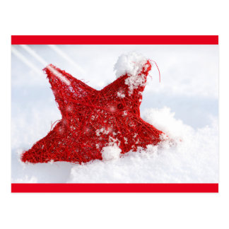 Red star in the snow postcard