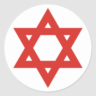 Red Star Of David, Israel flag Classic Round Sticker