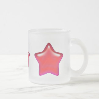 Red Star of Love Frosted Glass Mug