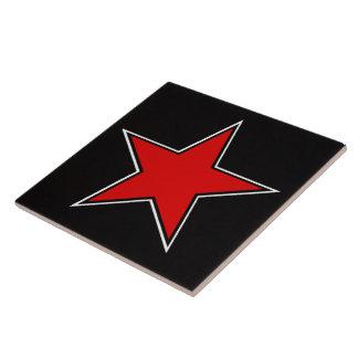 red star on black background large square tile