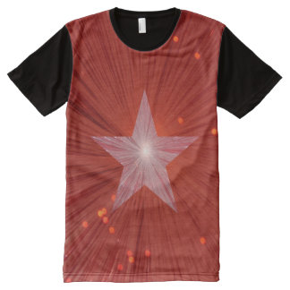 Red Star panel T-shirt All-Over Print T-Shirt
