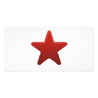 Red Star Custom Photo Card