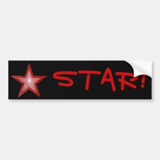 Red Star 'STAR!' bumper sticker black