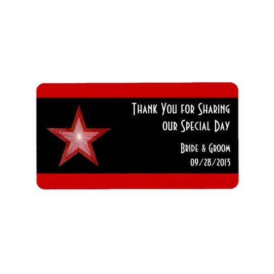 Red Star stripe 'Thank You' wedding medium black Label