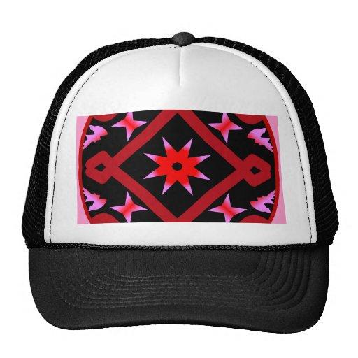 Red Starburst Geometric Kaleidoscope Pattern Mesh Hat