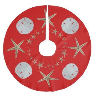Red Starfish and Sand dollar Christmas Tree Skirt