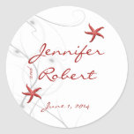 Red Starfish and Silver Coral Envelope Seal Round Sticker